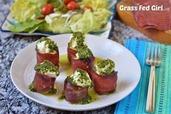 Goat-Cheese-Stuffed-Artichoke-Hearts-with-Beef-Bresaola-and-Pesto-Sauce