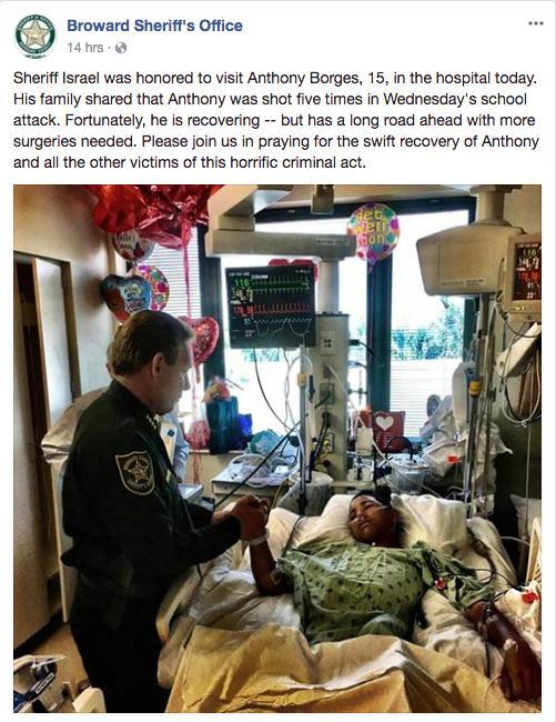 Florida police visit teen who was wounded shielding classmates