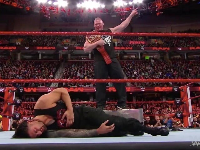 Brock Lesnar F-5's Roman Reigns onto Stairs to Open RAW