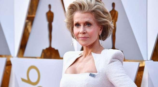 Jane Fonda white dress oscars red carpet