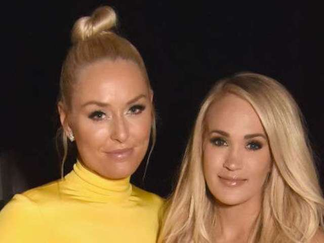 Carrie Underwood Poses With Lindsey Vonn and Her Giant Yellow Dress at ACM Awards