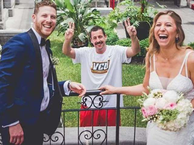 Adam Sandler Makes Hilarious Surprise Appearance in Couple's Wedding Photos
