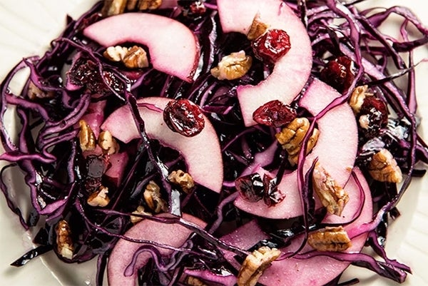 Red Cabbage, Cranberry, And Pecan Slaw