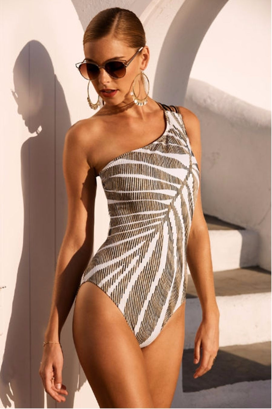 Gold Print One-Shoulder One-piece Swimsuit