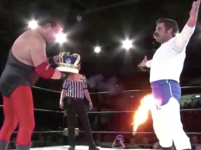 Watch: Jerry Lawler Blasts Joey Ryan's Crotch with Fireball