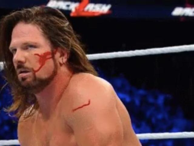 Watch: AJ Styles Bloodied by Freak Accident at Backlash