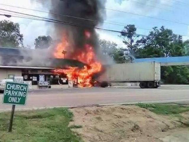 18-Wheeler Crashes Into Gas Station, Bursts Into Flames