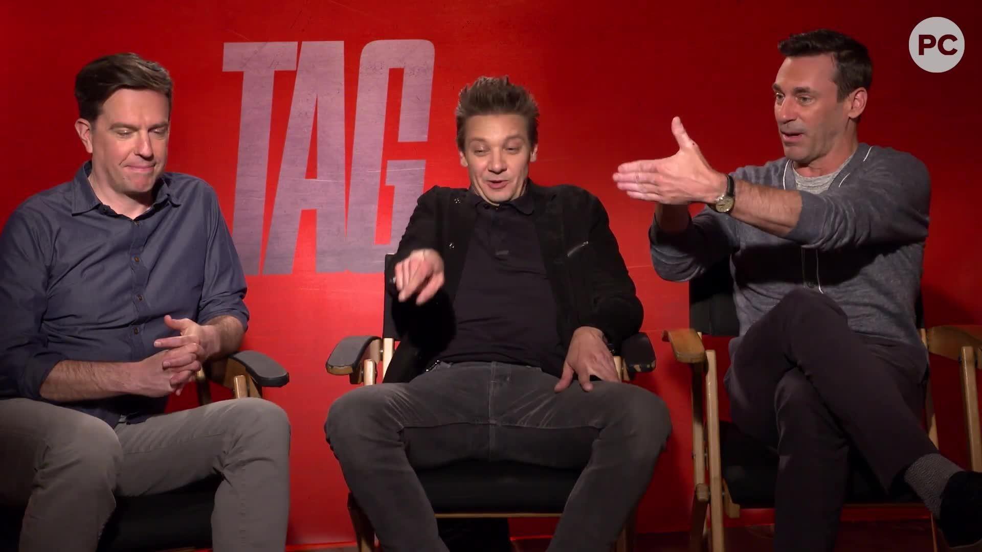 Ed Helms, Jeremy Renner and John Hamm Talk TAG screen capture