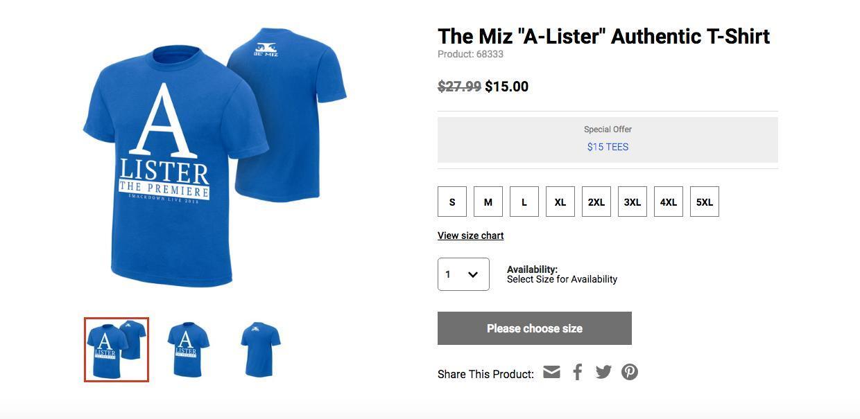 miz wwe merchandise bad t shirt