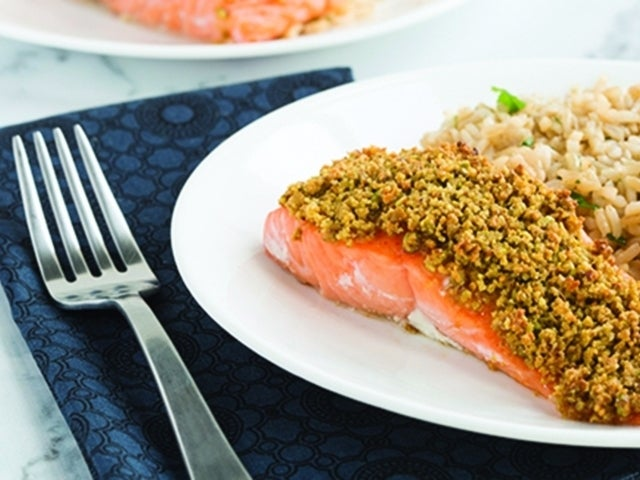 Recipe: Pistachio Crusted Salmon with Cilantro Lime Rice