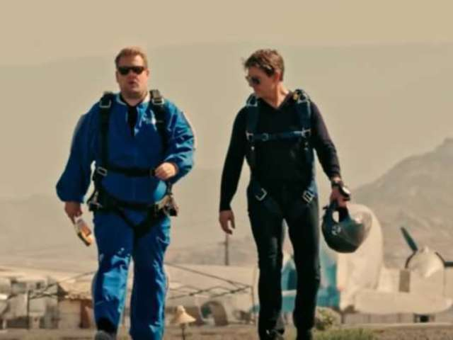 Watch Tom Cruise Give James Corden Hilarious 'Mission Impossible' Skydiving Lesson