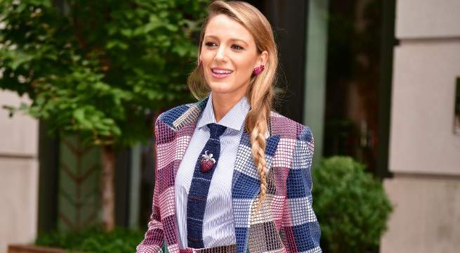 blake lively multi-color pantsuit getty images