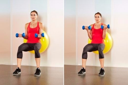 SB wall squat with bice curl