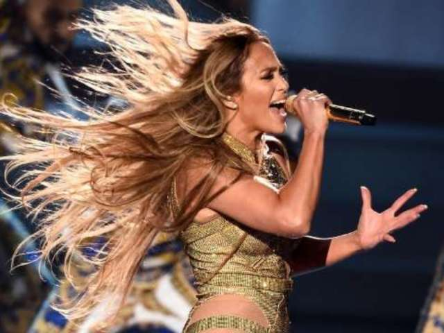 Jennifer Lopez Slips and Falls During Concert