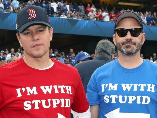Matt Damon and Jimmy Kimmel Wear Hilarious Matching T-Shirts at Game 5 of World Series