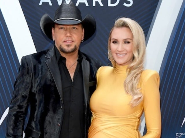 Jason Aldean's Wife Brittany Kerr Cradles Baby Bump on CMA Awards Red Carpet