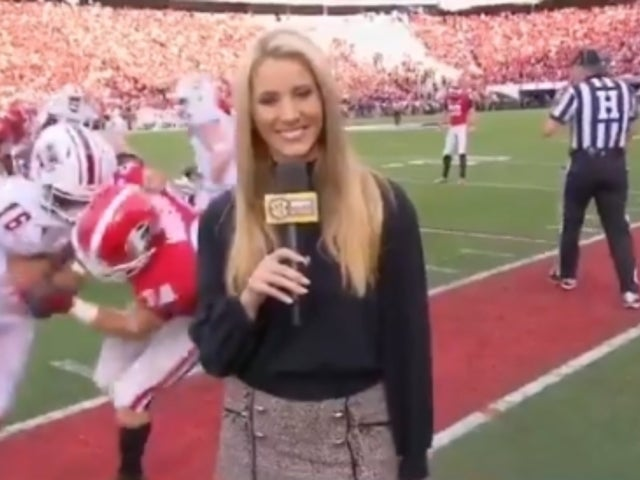 College Player Bowls Over ESPN Reporter on TV, Asks Her out in Apology