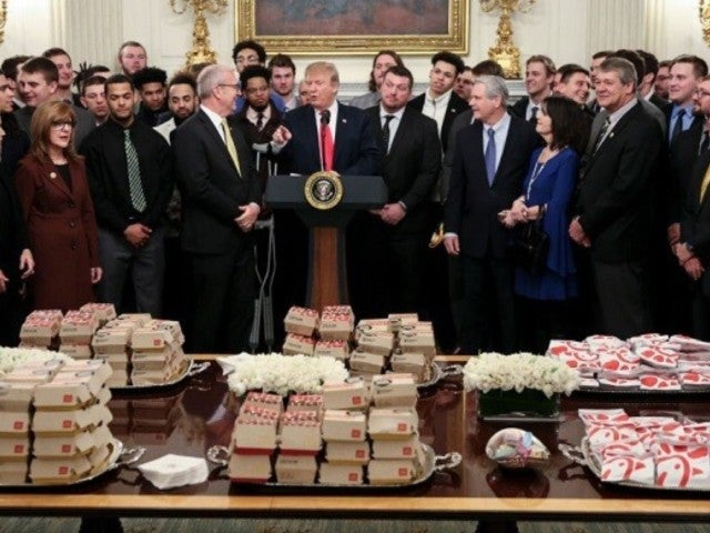 President Donald Trump Serves College Football Champs McDonald's, Chick-fil-A During White House Visit