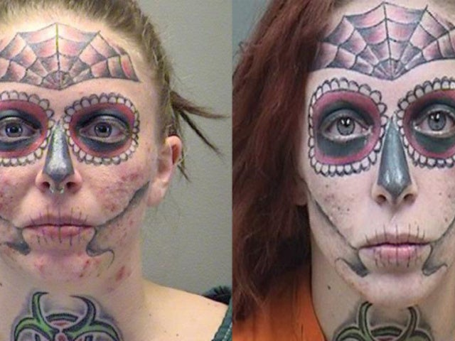 Woman With Creepy Full-Face Skull Tattoo Arrested for Third Time in Six Months