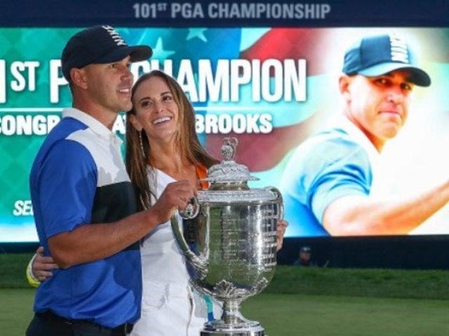 PGA Golfer Brooks Koepka Ignores Girlfriend's Live TV Kiss Attempts Twice