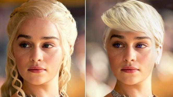 """livres-daenerys-books """"title ="""" livres-daenerys-books """"height ="""" 372 """"width ="""" 663 """"data -item = """"20064336"""" /> <figcaption> (Photo: YouTube / Looper) </figcaption></figure><p> Emilia Clarke était le casting idéal pour Queen Daenerys Targaryen. L'actrice était connue pour avoir enfilé une perruque argent-blonde élaborée avec des tresses interconnectées et Selon les livres, ceux-ci auraient également dû venir avec une paire de contacts colorés. </p> <p> Dans les livres, Daenerys a les yeux pourpres brillants de la maison Targaryen, que de nombreux cavaliers de l'histoire de Westerosi avaient Clarke a mentionné qu'elle avait essayé de porter des contacts violets lorsqu'elle a reçu ca St, mais ils irritèrent trop ses yeux et finalement l'idée fut abandonnée. </p> <p> Enfin, dans les livres, les cheveux de Daenerys ne survivaient pas à son voyage dans le feu. Elle était donc complètement chauve à la naissance de ses dragons. Jusqu'à présent dans la série, ses cheveux n'ont pas eu le temps de repousser à la longueur luxuriante de la série. </p> <a class="""