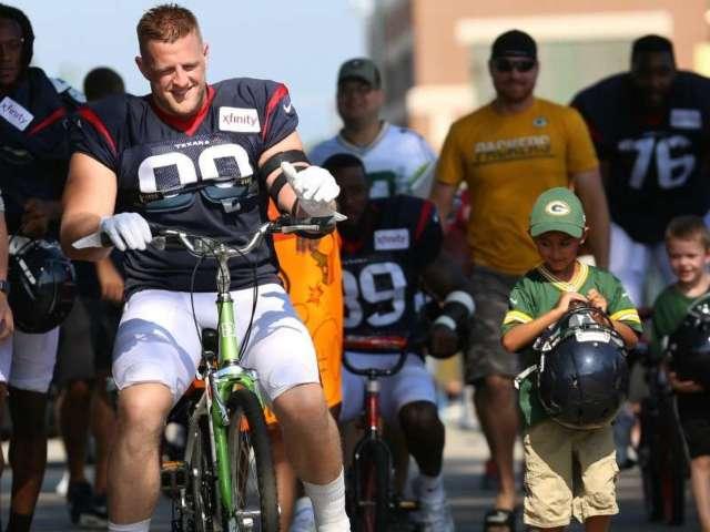 NFL Star J.J. Watt Breaks Kid's Bike While Riding to Practice