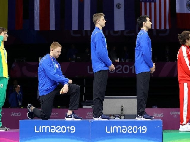 US Olympic Gold Fencing Medalist Race Imboden Knelt During National Anthem at Pan American Games