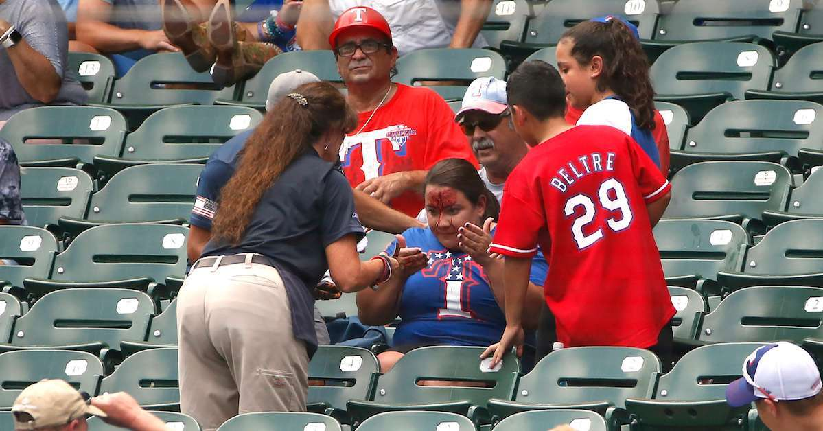MLB Fan hit foul ball