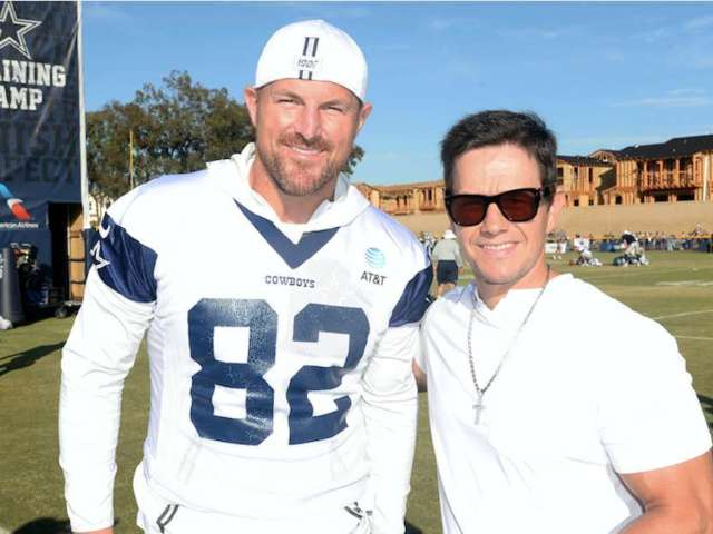 Mark Wahlberg Visits Cowboys Camp to Promote New Wahlburgers Store at Dallas Practice Facility