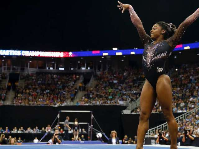 Simone Biles Lands First-Ever Triple Double on Floor Exercise