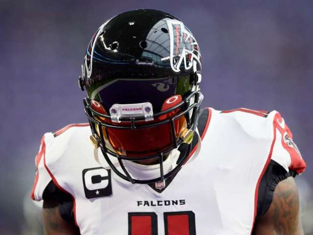 Julio Jones Wears Waffle House Cleats at Falcons Practice