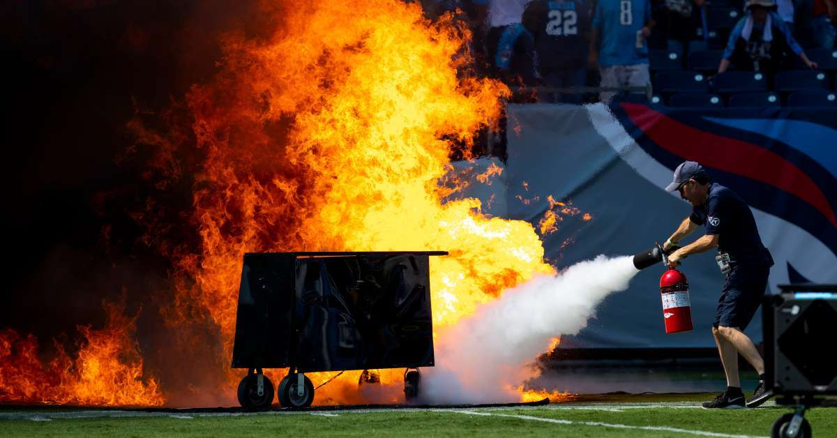 NFL ban on-field pyrotechnics titans nissan stadium fire