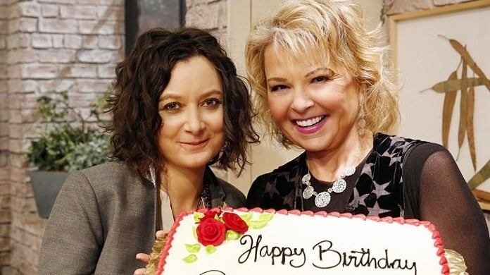 sara gilbert roseanne barr getty images cbs