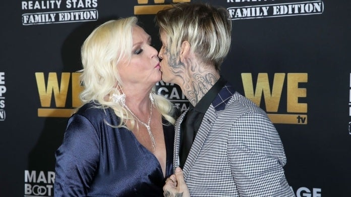 aaron carter mother kissing getty images