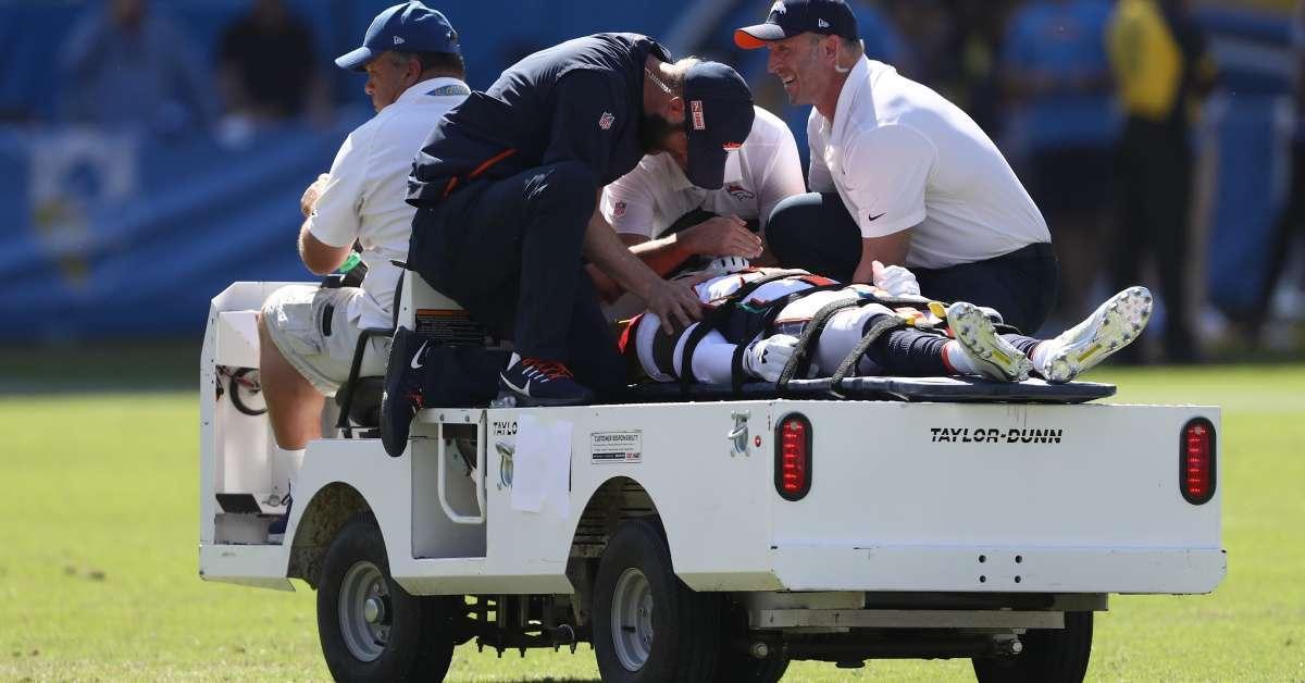 Broncos De'Vante Bausby paralyzed 30 minuets helmet to helmet hit Chargers game