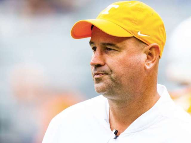 Watch: Vols Coach Jeremy Pruitt Grabs Jarrett Guarantano's Face Mask During Blowup