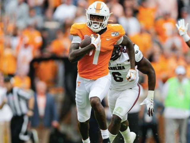 Tennessee's Marquez Callaway Stares Down South Carolina Defender on Touchdown Reception