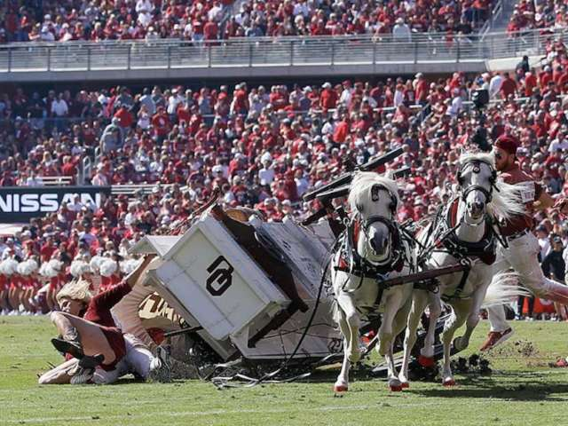 Oklahoma's Sooner Schooner Wagon Crashes, and Viewers Are Sounding Off