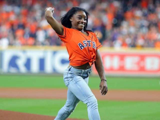 Simone Biles Throws out Mind-Blowing First Pitch With Backflip at Game 2 of World Series