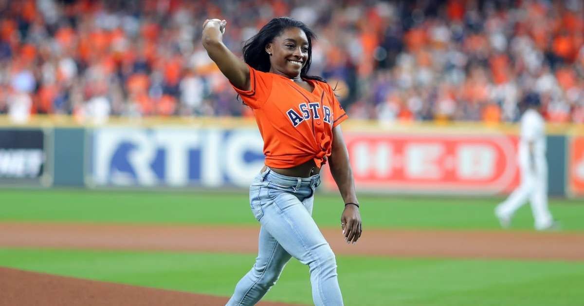 Simone Biles first pitch backflip world series game 2