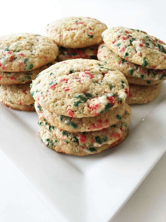 Skinny Holiday Confetti Cake Mix Cookies