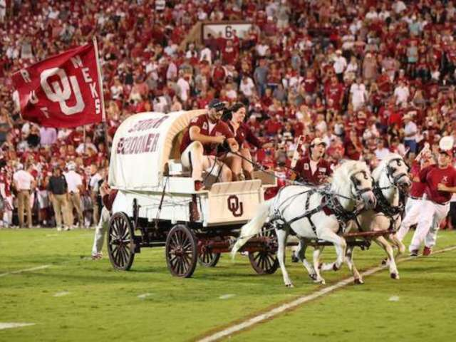 Watch: Oklahoma's Sooner Schooner Wagon Crashes on Field