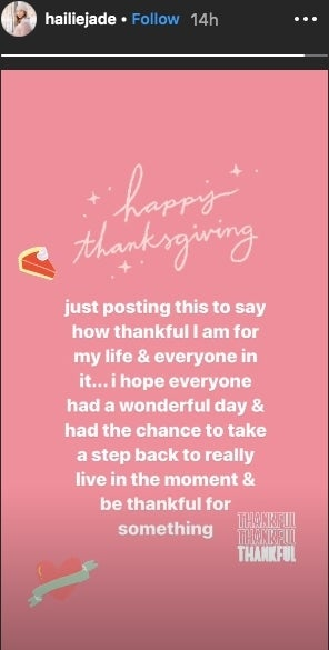halie jade mathers thanksgiving instagram