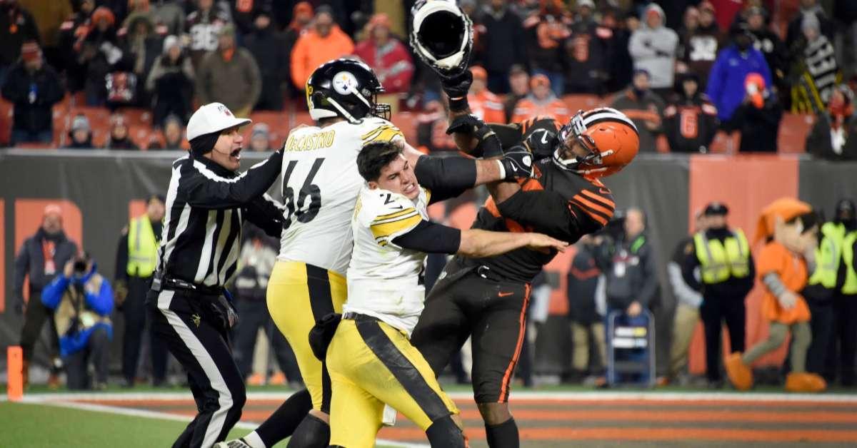 Steelers vs Browns Game Erupts Into Violent Brawl After Myles Garrett Swings Helmet at Mason Rudolph