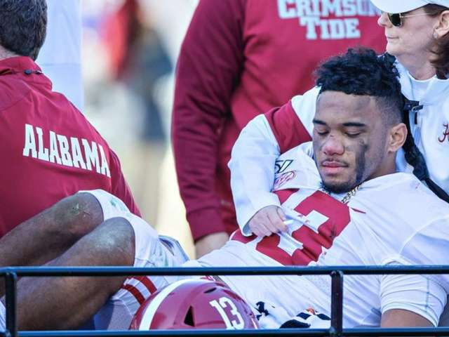 Alabama QB Tua Tagovailoa Carted off During Saturday's Game