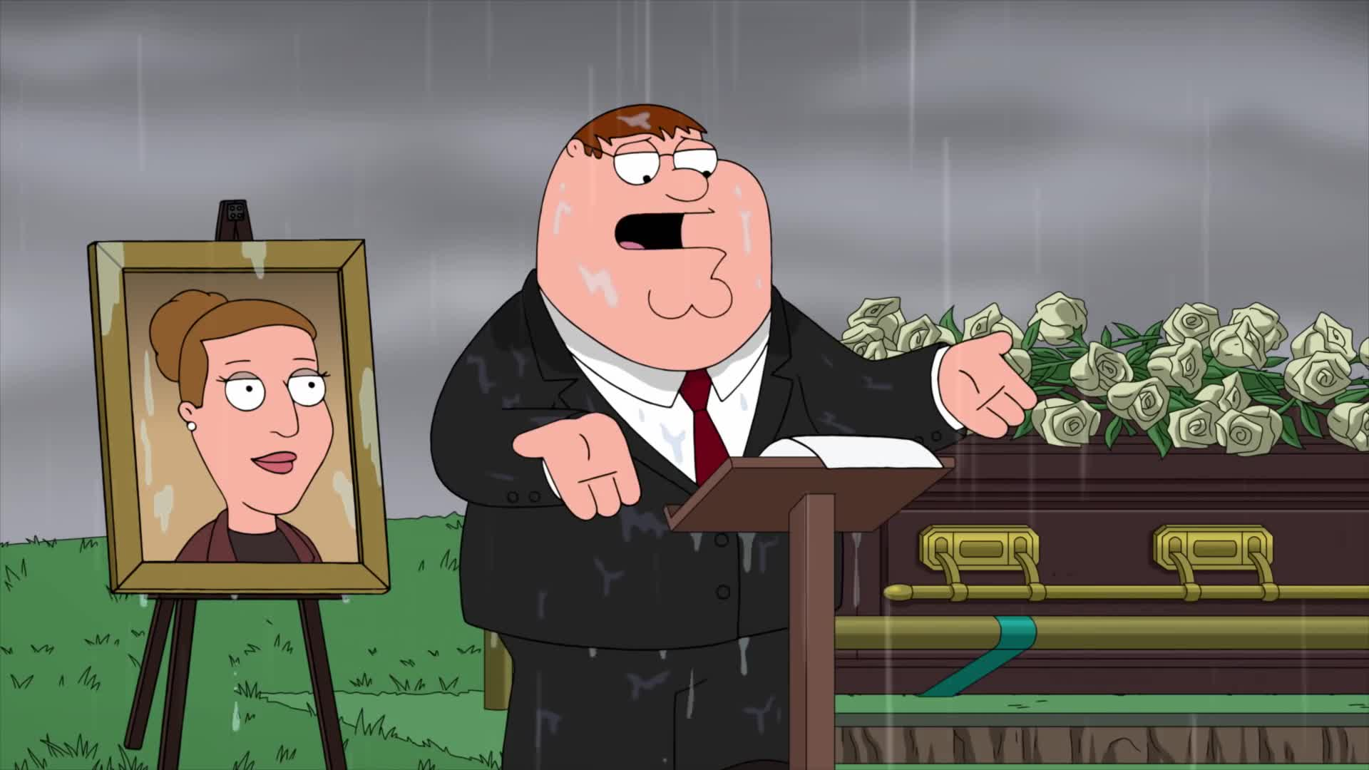 'Family Guy' - Peter Speaks At Angela's Funeral - Season 17 Ep. 9 screen capture