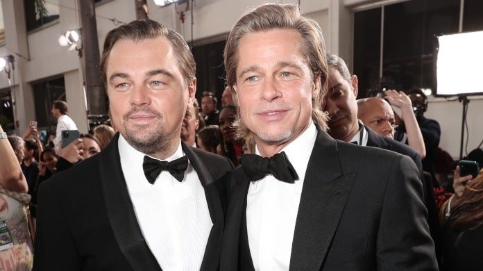 brad pitt leonardo dicaprio golden globes getty images
