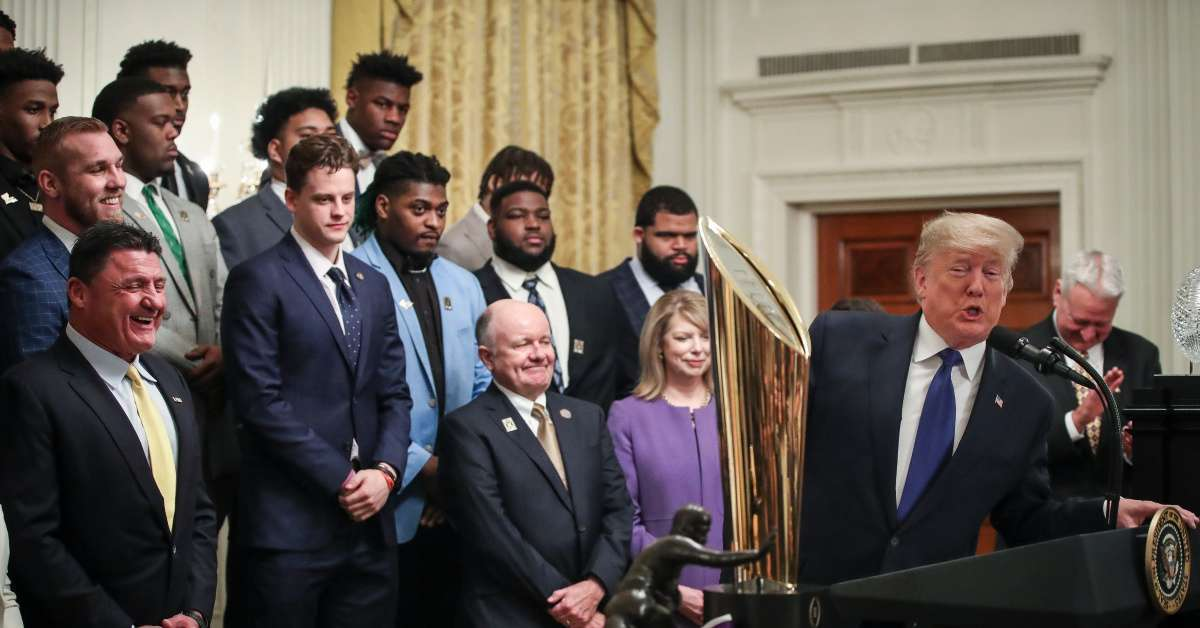 Donald Trump Welcomes LSU Tigers White House National Championship win