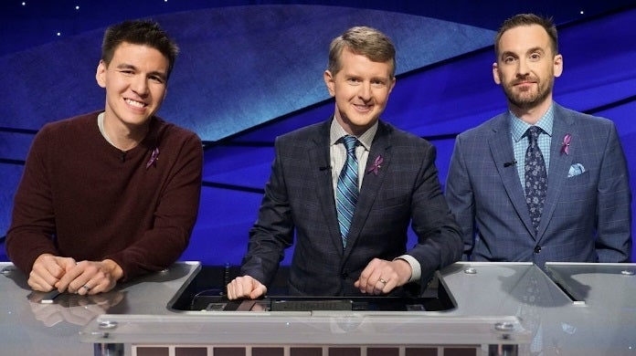 jeopardy goat contestants purple ribbon getty images abc