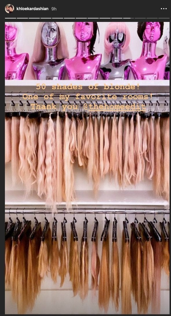 Khloe Kardashian Shows Off Massive Hair Room With 50 Shades Of Blonde Extensions
